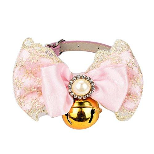 KanLin Haustier Hundehalsband Bowknot Bells einstellbar (L, Pink) (Dog Carrier Prinzessin)