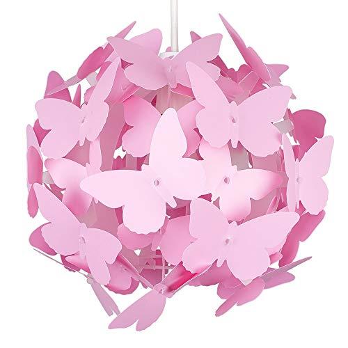 Moderna Pantalla de Lámpara Globo MiniSun de Mariposas Rosas Colgante para Techo
