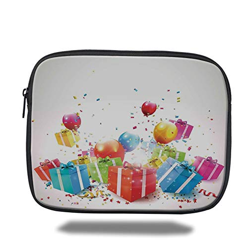 Tablet Bag for Ipad air 2/3/4/mini 9.7 inch,Birthday Decorations,Surprise Boxes with Bow Ties Confetti Rain Balloons Celebratory Set Up,Multicolor,Bag (Ties Bow Bulk)