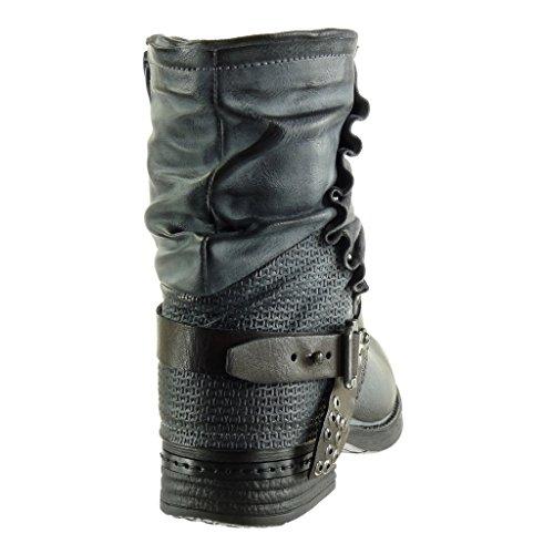 Angkorly - Chaussure Mode Bottine motard cavalier effet vieilli femme tréssé lanière clouté Talon bloc 2.5 CM - Intérieur Fourrée Gris