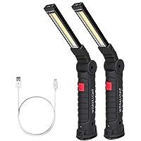 Coquimbo Linterna Taller LED Recargable, Talla Grande 360°Rotate 5 Modos Lámpara de Inspección, LED Portátil Linterna con Base Magnética y Gancho (2 Piezas, Grande)