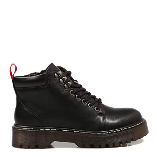 COOLWAY Calia, Zapatos Cordones Oxford Mujer, Negro