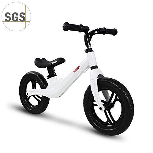 """COEWSKE 12 \""""Balance Bike Magnesium Alloy No Pedal Walking Balance Entrenamiento Bicicleta para niños y niños de 2 a 5 años (Blanco)"""