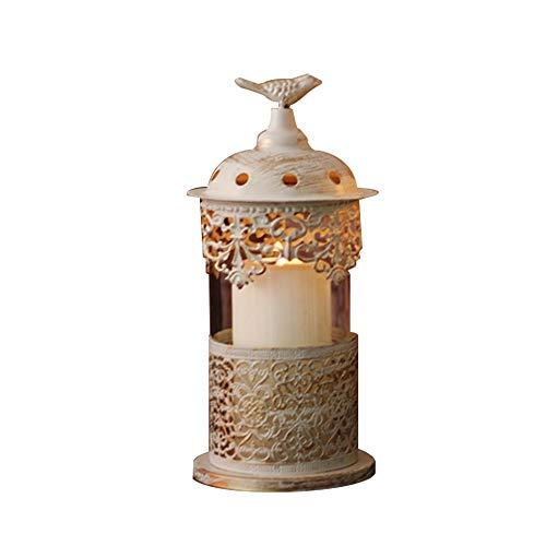 WYMI Französisch Versailles Hohlen Geschnitzten Spitze Schmiedeeisen Glas Kerze Tischlampe Studie Wohnzimmer Schlafzimmer Nachttischlampe,S - Hohle Kerze