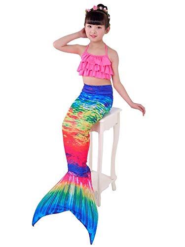 Kostüm Meerjungfrau Teiliges Kleine 2 - NVHAIM Sommer-Badeanzug for Mädchen, Prinzessin Kinder Bikini, Regenbogen Meerjungfrau Badeanzug /  Cosplay Kostüm / 3-teiliges Set (2-10 Jahre alt) Wunderschöne Kleidung (Color : Pink, Size : 110)