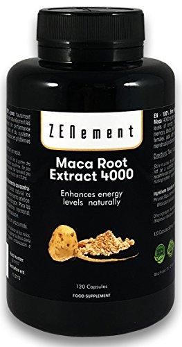 Maca Andina, altamente concentrado 4000mg, 120 cápsulas, mejora los niveles de energía, resistencia, rendimiento atlético, memoria, libido, sistema inmunológico y desequilibrio hormonal | 100% Natural, Vegano, No GMO, Sin Gluten
