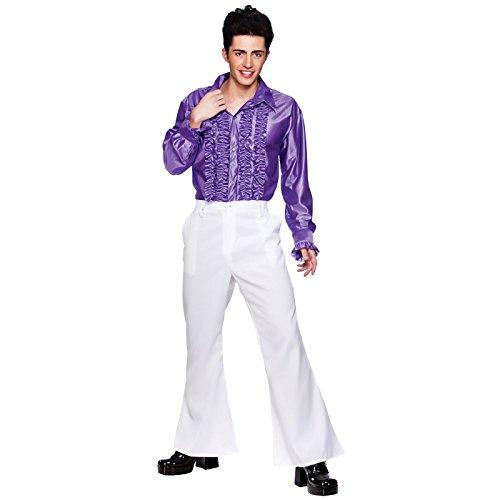 70er Disko Fieber Halloween Karneval Verkleidung für Männer Weiße Schlaghose L (Rock N Roll Kostüm Ideen Für Männer)