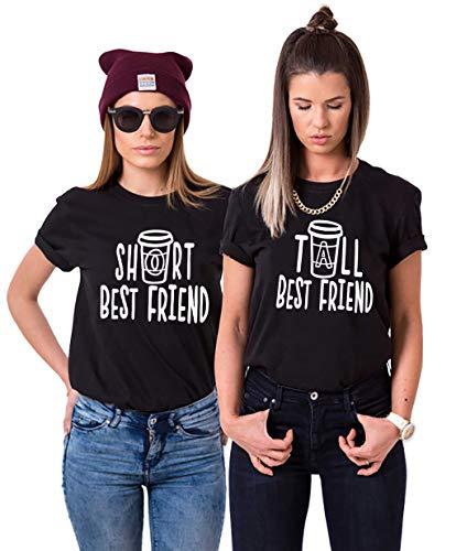 Best Friend T-Shirt Sister T-Shirt Für 2 Mädchen BFF T-Shirt Damen Schwarz Weiß Baumwolle BFF Geschenk 2 Stücke