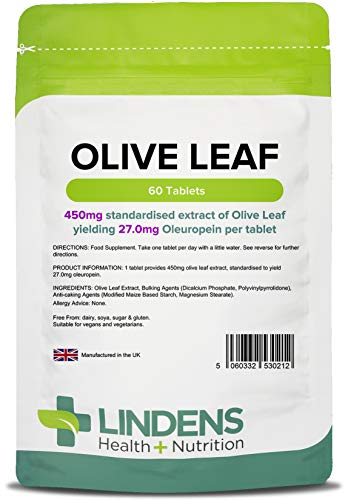 Lindens Olivenblätter-Extrakt Tabletten | 60 Verpackung | 450 mg standardisierter Extrakt für 27 mg Oleuropein pro Tablette -
