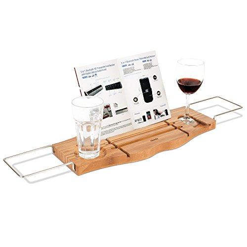 Preisvergleich Produktbild HOMFA Bambus Badewannenablage ausziehbar Edelstahl Badewannenbrett Badewannenauflage 106x22.5x2.5cm