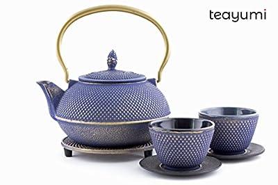 teayumi–Théière en fonte Arare Set 0,9l, bleu sur or