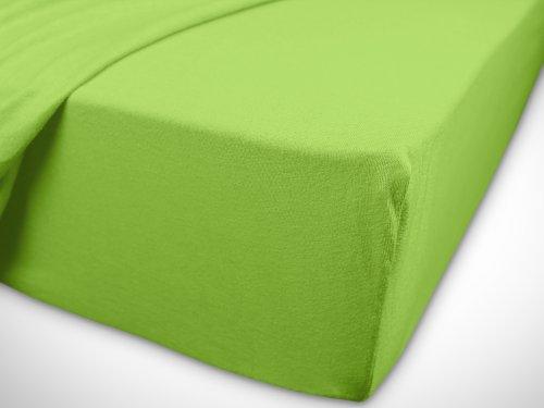 npluseins klassisches Jersey Spannbetttuch - erhältlich in 34 modernen Farben und 6 verschiedenen Größen - 100% Baumwolle, 90-100 x 200 cm, apfelgrün - 7