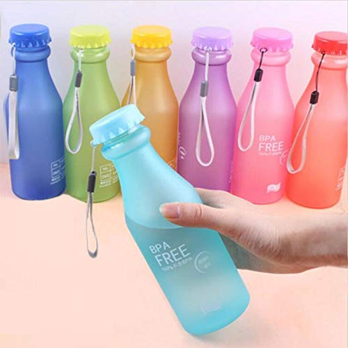 280f9499d74c6 Uniqus Candy Colors Unbreakable Frosted Leak-Proof Plastic Kettle 550mL BPA  Free Portable Water Bottle for Travel Yoga Running Camping
