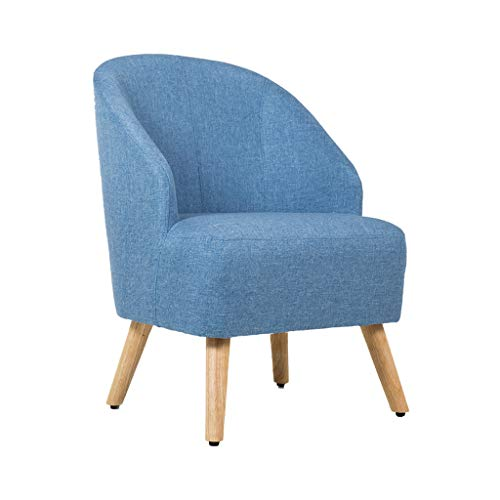 LYL taburete Silla de Madera sólida Simple nórdica, Silla de Lino del algodón, Silla de la Tabla del sofá del Ocio de la Sala de Estar del balcón de la casa Sola (Color : Blue)