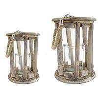 Laterne Windlicht Kerzenhalter Teelichthalter Holz Bambus Asiatischer Stil Gelb