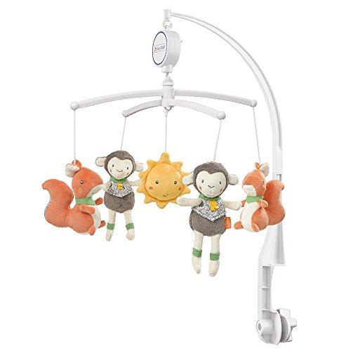 Fehn 061130 Musik-Mobile Sunshine | Spieluhr-Mobile mit niedlichen Bewohnern des Waldes zum Lauschen & Staunen | Zum Befestigen am Bett für Babys von 0-5 Monaten | Höhe: 65 cm, ø 40 cm