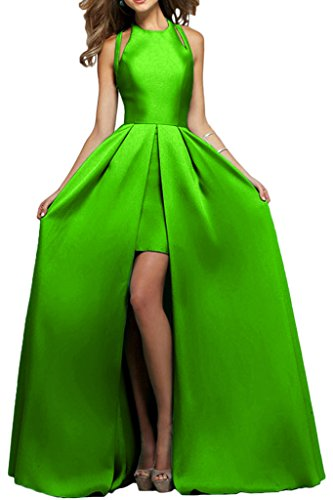 Victory Bridal Elegant Satin Modern Abendkleider Partykleider Promkleider A-linie Rock Bodenlang Lemon Gruen