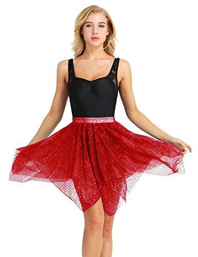 Tanz Kostüm Swing - Agoky Damen Asymmetrisch Rock Ballettrock Tanzrock Latein Glänzende Teller Röckchen mit Glitzer Kostüm Faltenrock Tanzkleidung Cosplay Rot One Size