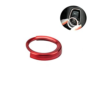 ALLCACA CARGOOL Auto Start Key Ring Engine Start Stop Abdeckung Aufkleber Aluminiumlegierung Schutzhülle Dekoration Ring, (Rot)