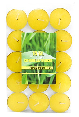 15unidades citronela velas zitronenöl té luz Diámetro 35mm-Solo para exterior, amarillo