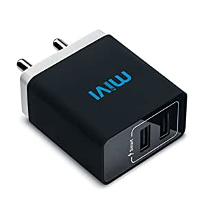 Mivi WC231 3.1A Dual Port Smart Wall Charge Adapter - (Black)