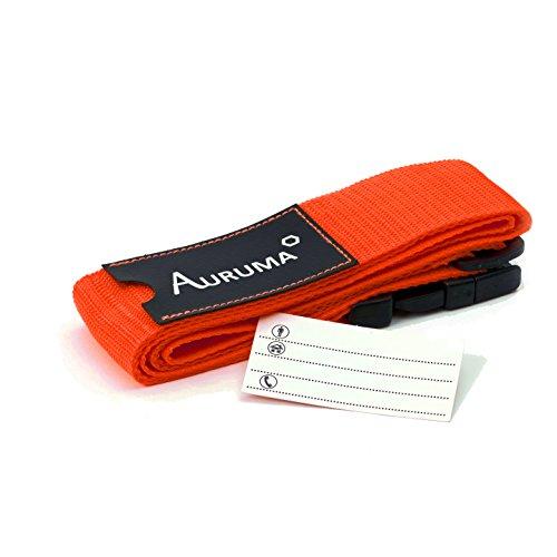 AURUMA Deluxe correa equipaje ajustable. Nueva edición: con etiqueta de identificación! Naranja