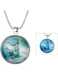 AnaZoz Joyería de Moda Collar Aleación Blue Colgante Collar Redondo Luminoso Serie Constelación Sagittarius Colgante Para Mujer