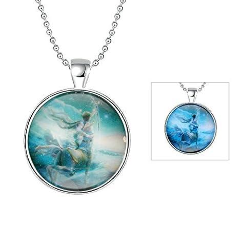 anazoz Fashion Jewelry Bleu en alliage rond colliers lumineux Série Constellation Sagittaire Pendentif Fashion pour
