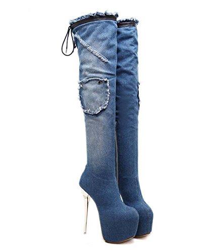 Frauen 16 cm Stiletto 7 cm Dicke Plattform Denim Oberschenkel Hohe Stiefel Runde Kappe Reißverschluss Lace-up Bowknot Ritter Stiefel Eu Größe 34-40 ( Color : Blue , Size : 35 ) -