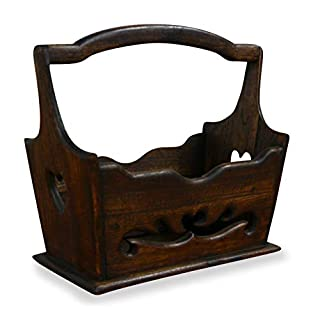 Carved wooden newspaper rack, basket, handmade in Thailand with beautiful heart shaped carvings