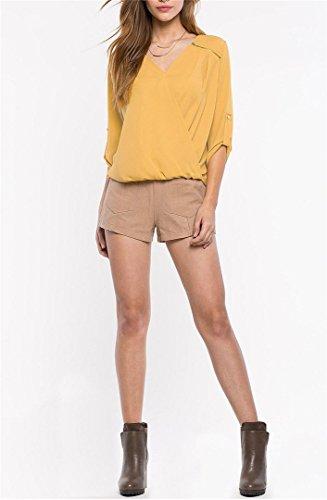 BININBOX® Damen Frauen fashionable Mode Reißverschluss dekoration kurz vor langer Design lose V-Ausschnitt Chiffon T-Shirt Gelb