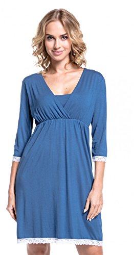 Happy Mama Damen Umstands Nachthemd/Pyjama/Morgenmantel SEPARAT ERHÄLTLICH. 591p Nachthemd - Blau Grau