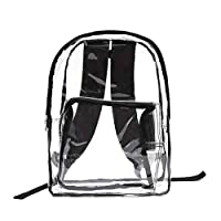 Zilee Adult Clear Backpack,Transparent Heavy Duty PVC School Bag Kids Rucksack with Adjustable Padded Straps Bookbag for Outdoor/Travel/College/Work - Black