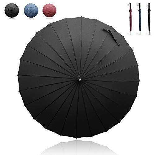 Becko Winddichte Regenschirm, Manuell Eröffene und Geschlossene, Lang Stockschirm / Golfschirm / Partnerschirm mit 24 Faserstützen, Unisex(Schwarz) -