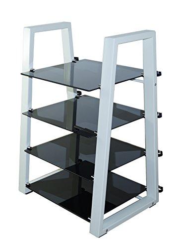 MountRight HiFi en verre Design Etagère/support étagère – 4 (cadre blanc – Verre Noir)