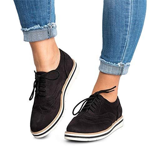 Brogues Damen Schuhe Flach Schnürhalbschuhe Widleder Vintage Oxfords Derby Halbschuhe Bequem Casual Sneaker Schwarz 41