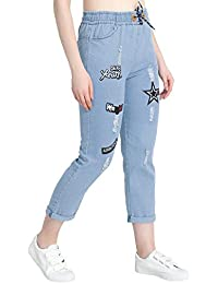 DIMPY GARMENTS BuyNewTrend Roll Up Blue Drawstring Printed Jeans for Women