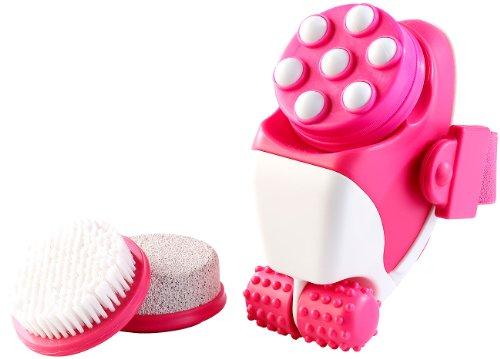 newgen medicals Massageroller: 4in1 wasserdichtes Elektro-Hautpflege- & Massage-Set für Bad & Dusche (Massage Set für Zuhause)