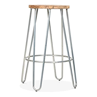 Cult Living Hairpin Stool with Wood Seat Option - Galvanised 66cm - low-cost UK light shop.