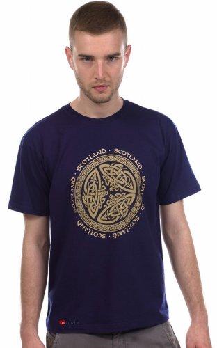 T-Shirt Crew Neck Short Sleeve Scotland Celtic Circle Emblem Navy blue
