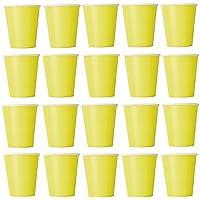 50x Vasos Amarillo vasos desechables para bebidas frías y bebidas calientes de cartón respetuoso con el medio ambiente, bodas, cumpleaños, Taza de café, picnic, Jardín, partido, barbacoas