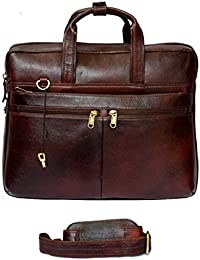 "Stylish 15"" Genuine Pure Leather Laptop Sleeve Lockable Messenger Office Bag With Shoulder Strap By-Widnes"
