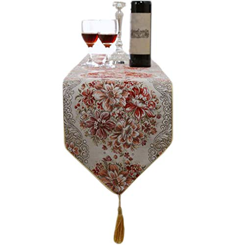FJH Chemin de table Tableau rouge drapeau tissu or fil rouille simple mode style européen lit de café hôtel mariage banquet décoration 28 cm * 160 cm (taille : 180cm)