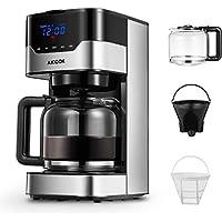 Cafetera Aicook Cafetera Goteo para 12 Tazascon con Temporizador Programable, Máquina de Café con Pantalla Táctil, Filtro Permanente, Sistema Antigoteo, Tanque de Agua DE 51 oz/ 1.5 Litros/ 900W,Negro