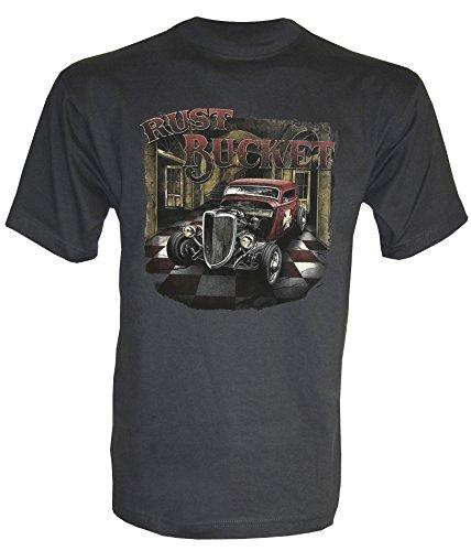 Hot Rod Rust Bucked T-Shirt in Größe S bis 5XL Graphit
