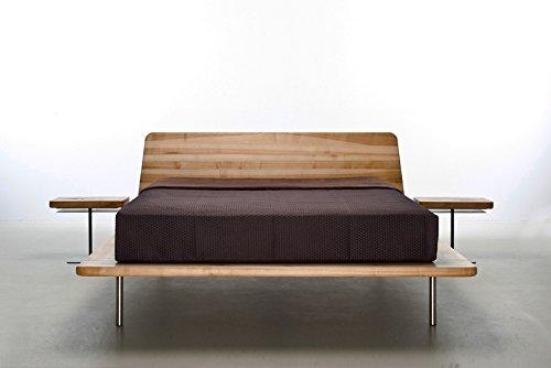 MAZZIVO LETTO Hochwertiges Holz Bett Schlicht & Zeitlos filigran Modern Edel & Elegant - Italienisches Design 120 140 160 180 200 Überlänge Eiche Erle Buche Esche Kirschbaum (Buche, 160 x 210 cm) -