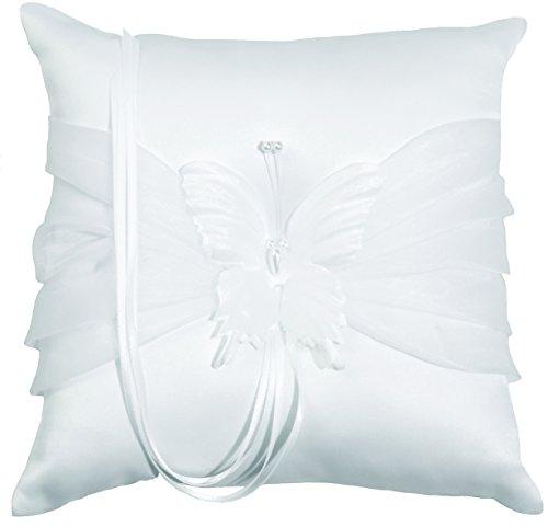 Ringkissen für Hochzeit, Weiß, Kissen für Trauringe mit Schmetterling und Perlen, quadratisch 20 x 20 cm, Sommerhochzeit