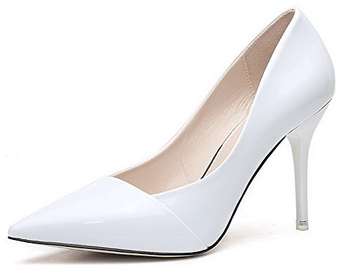 AalarDom Damen Pu Leder Hoher Absatz Spitz Zehe Ziehen Auf Pumps Schuhe Weiß-Vergleich Und Verbindung