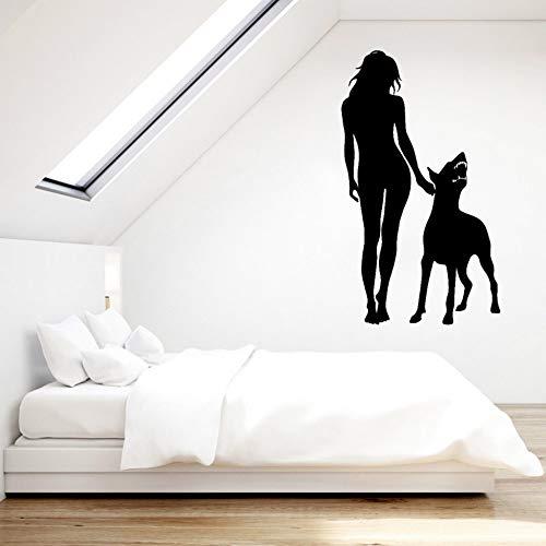 SLQUIET Personalizzabile Decorazioni per la casa Adesivi di Moda Cane Arrabbiato Moda Ragazza Adesivi murali Popolari Decalcomanie Decorative Adesivi murali 46CM X 80CM