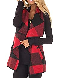 f3dd598e272d8 Women Fashion Plaid Gilet Waistcoat Sleeveless Plus Size Lapel Vest Jacket  Open Front Cardigan